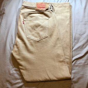LEVIS 501 Mens Straight Fit Tan Jeans 36 X 32